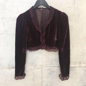 Free People Velvet Lace Cropped Jacket / Shrug